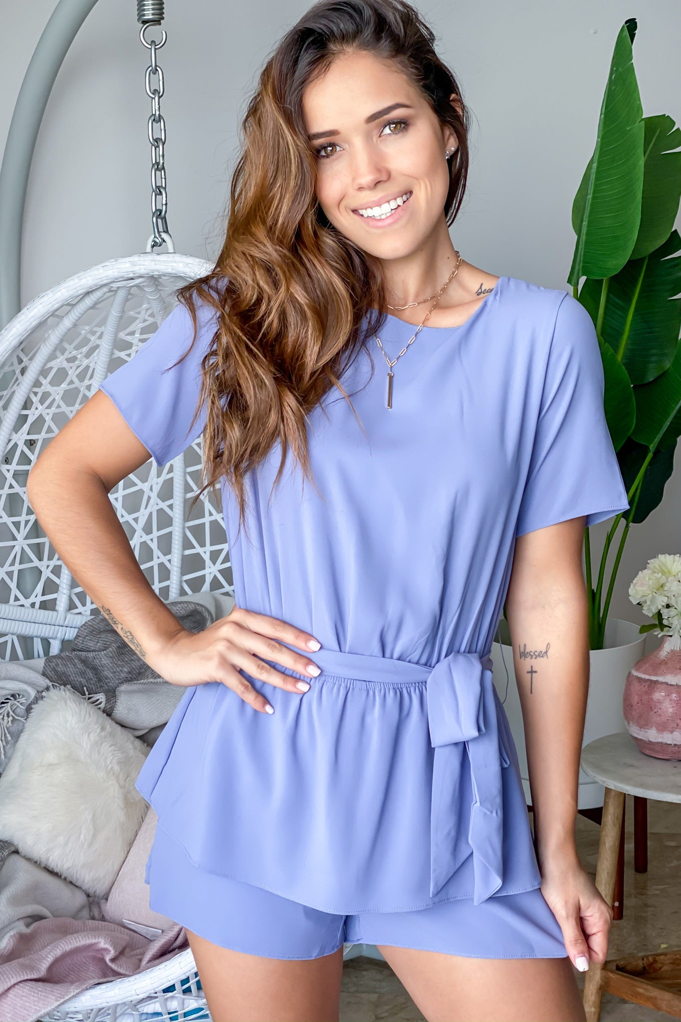 Steel Blue Romper with Sleeves