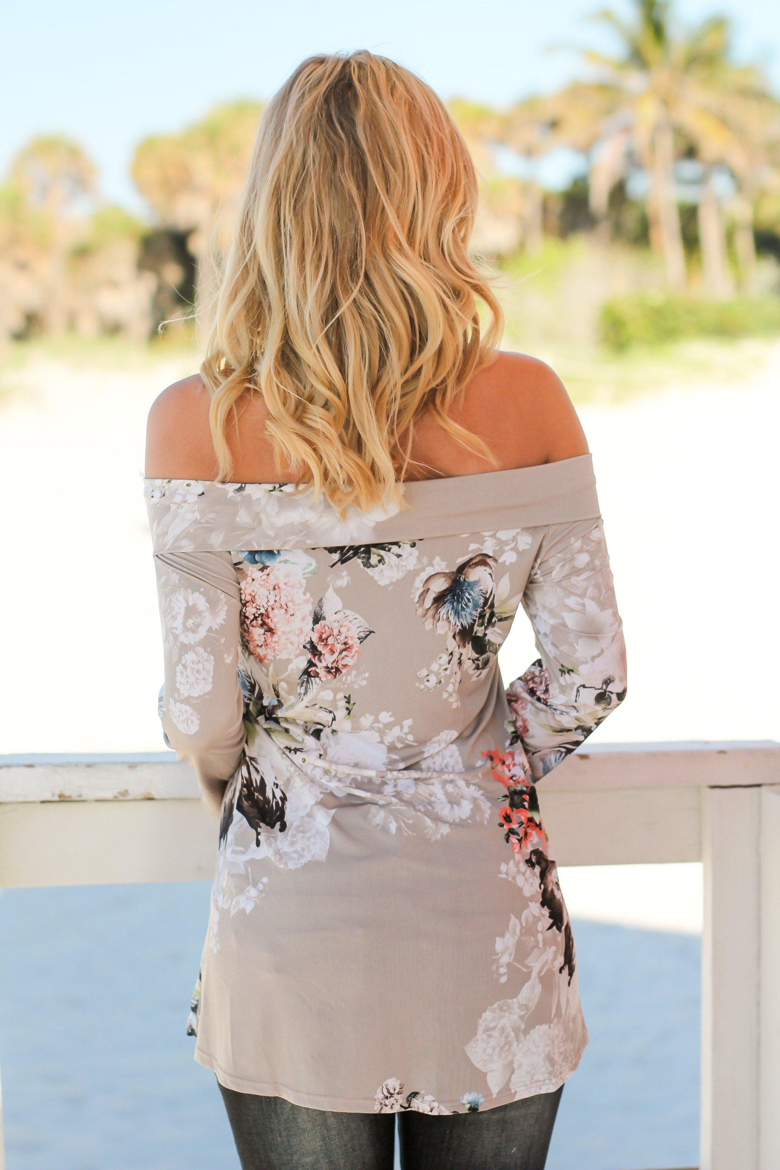 Stone Floral Off Shoulder Top