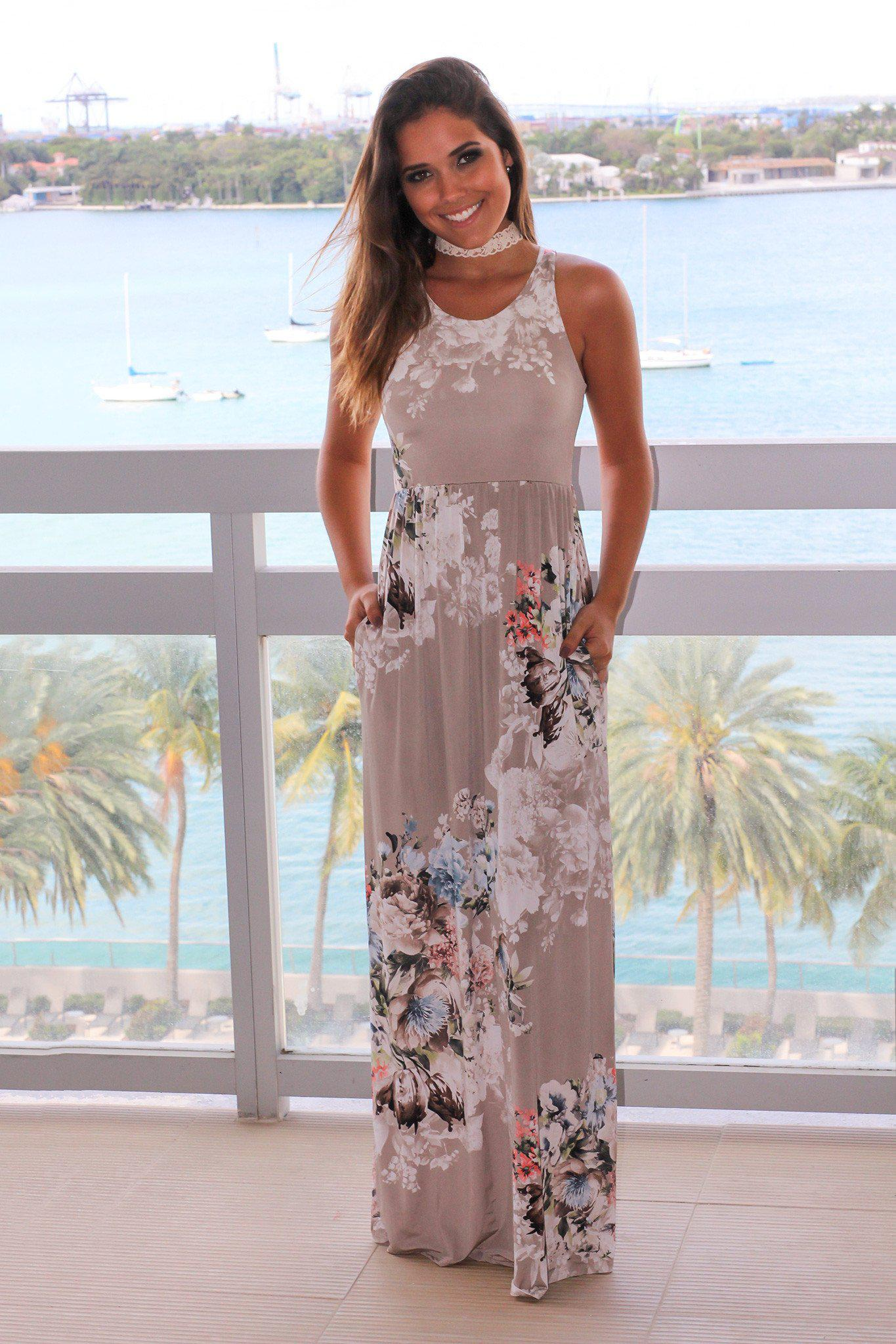 Stone Floral Racerback Maxi Dress with Pockets