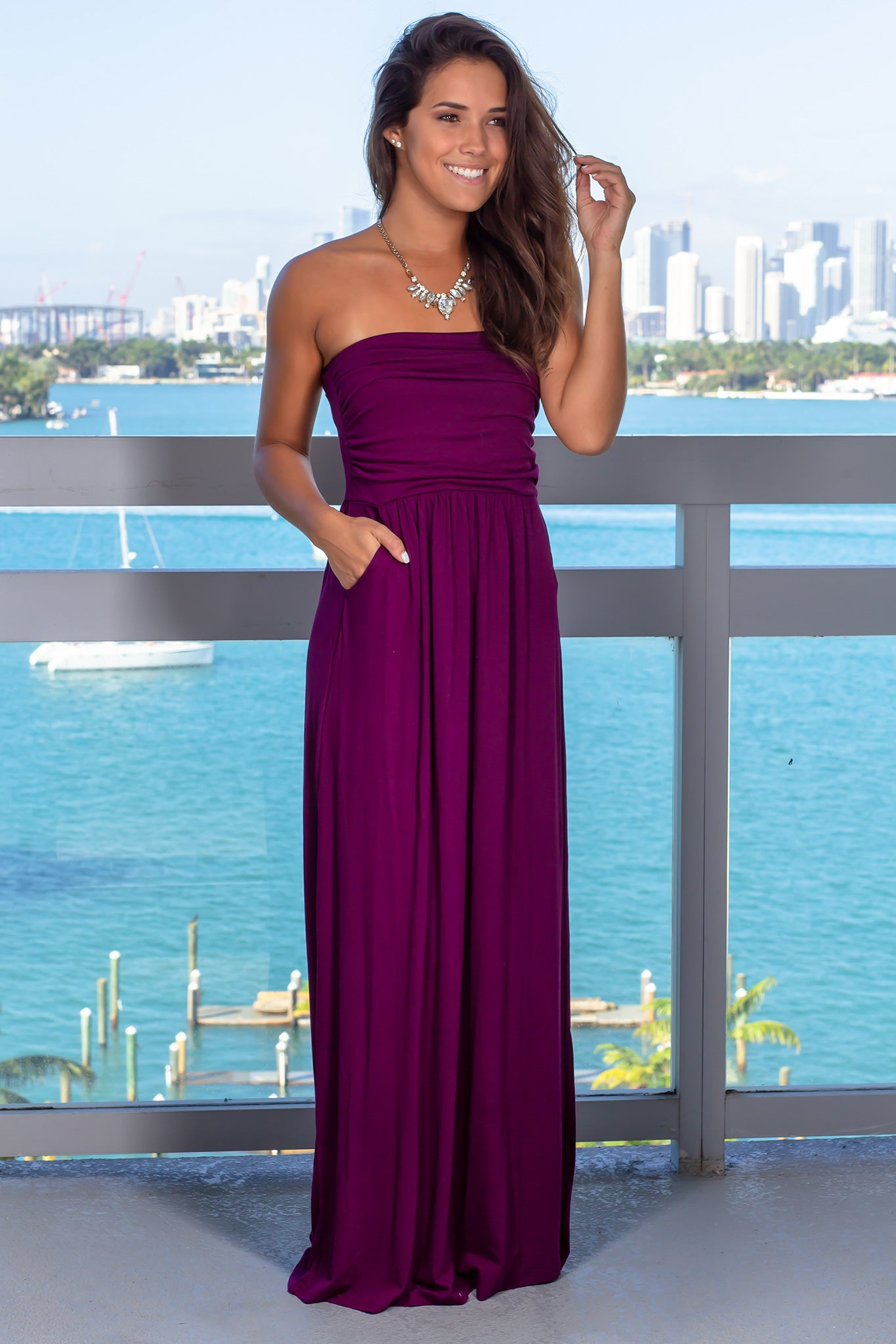 c7bac2aa27b Strapless Dark Plum Maxi Dress with Pockets