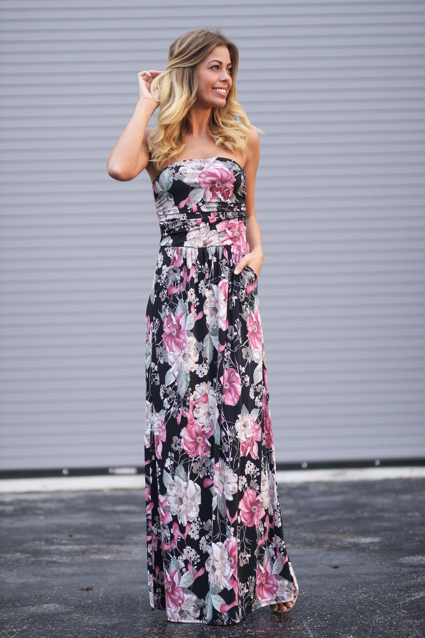 d96403a5040ed Strapless Pink and Black Floral Maxi Dress with Pockets | Maxi Dresses –  Saved by the Dress