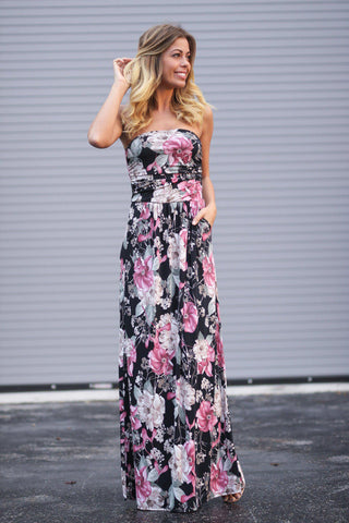 Strapless Pink and Black Floral Maxi Dress with Pockets
