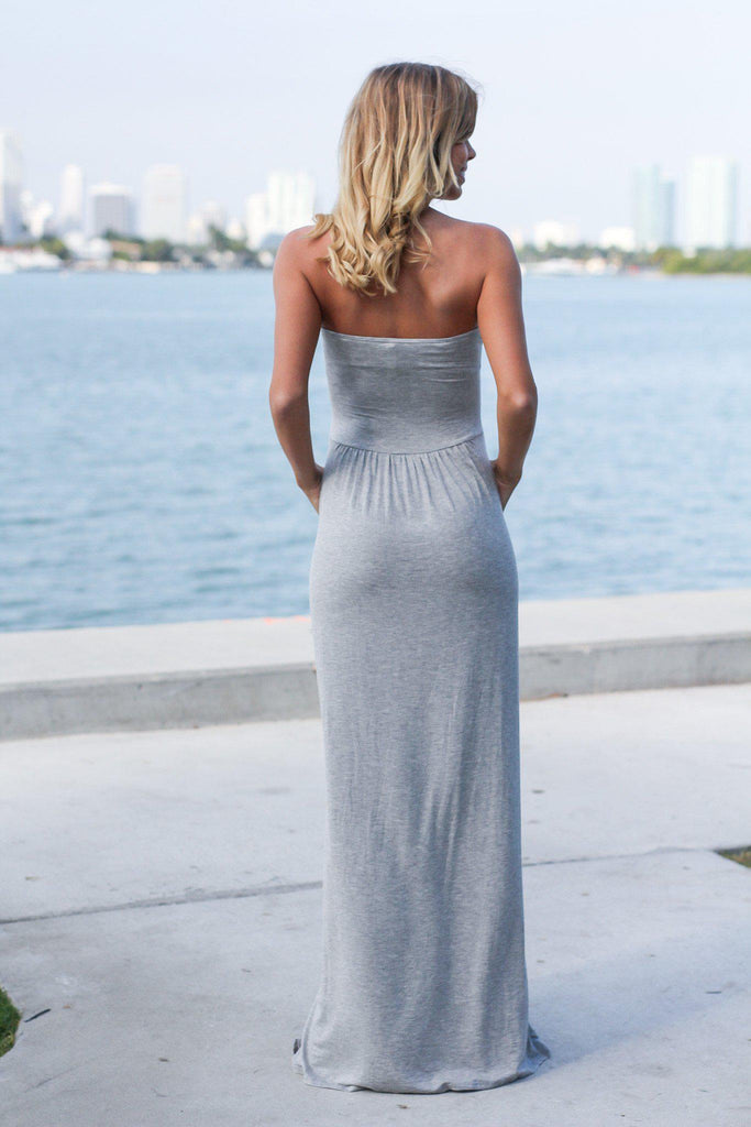 Strapless Heather Gray Maxi Dress with Pockets