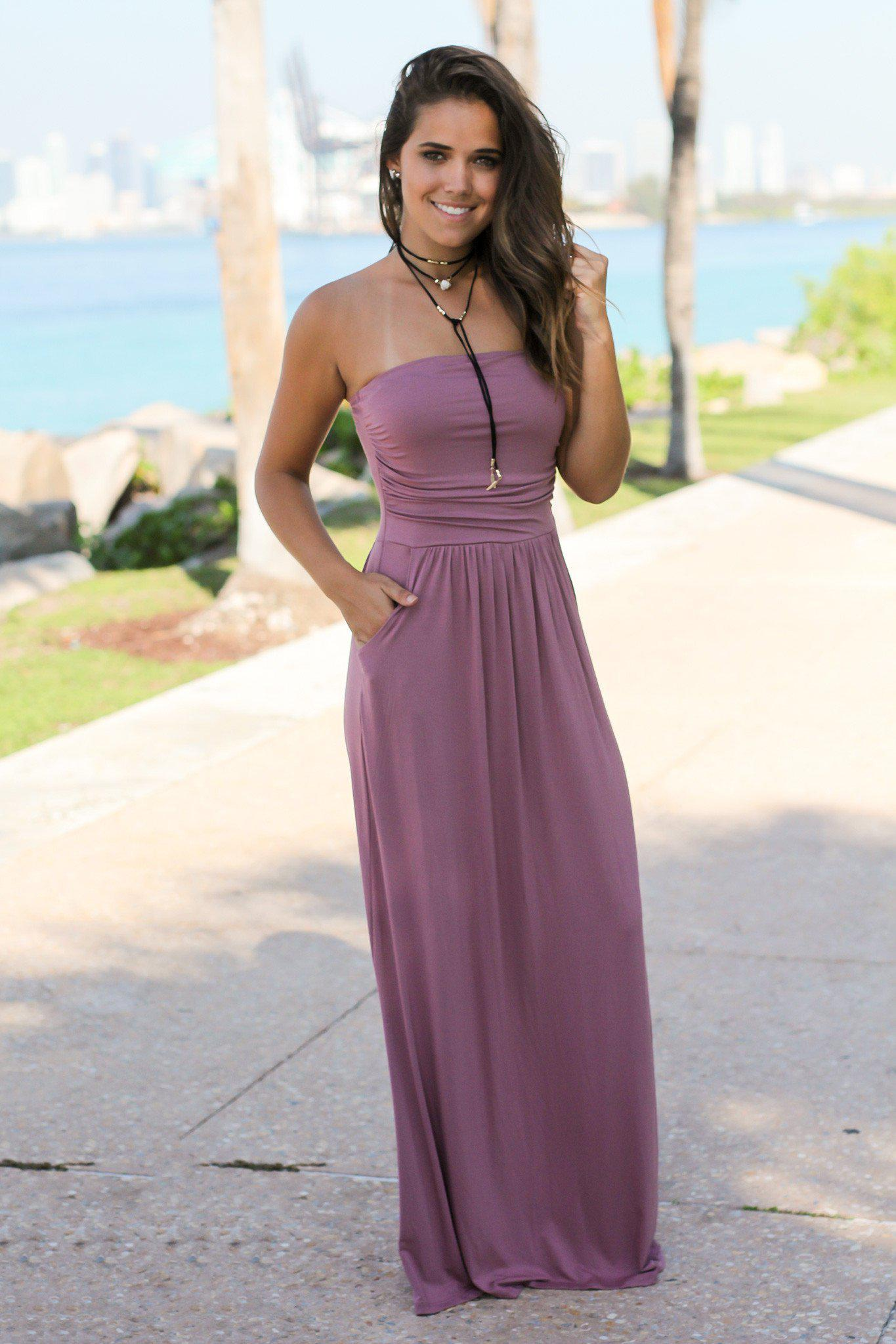bcc145f5c3e1 Strapless Mauve Maxi Dress with Pockets | Maxi Dresses – Saved by the Dress