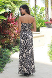 Taupe Maxi Dress With Black Print
