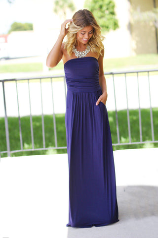 Strapless Navy Blue Maxi Dress with Pockets