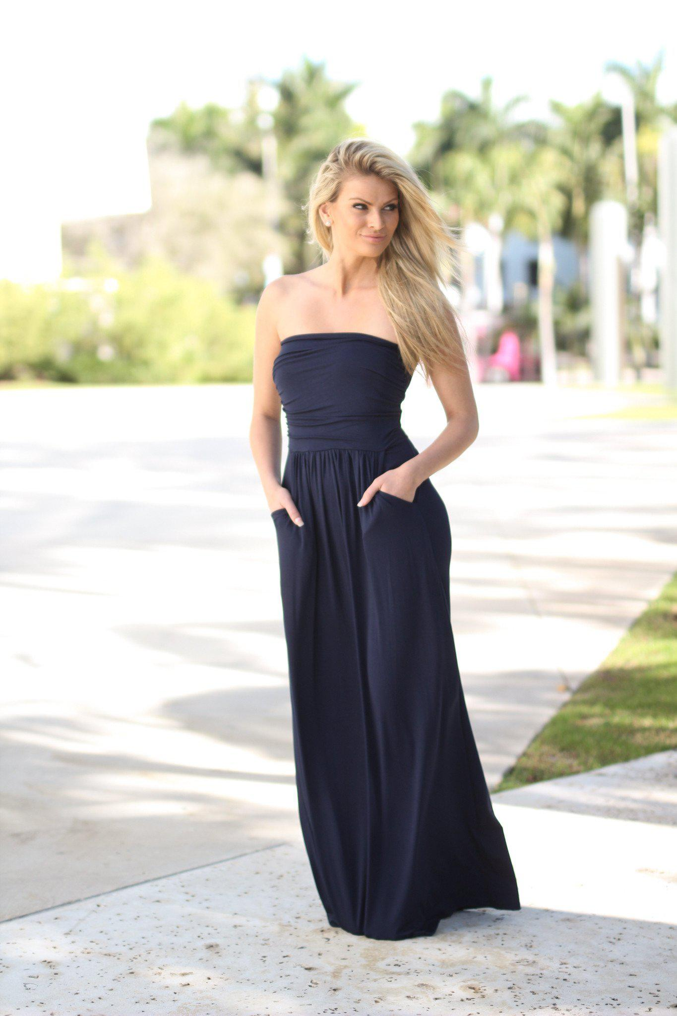 Strapless Navy Dress with Pockets