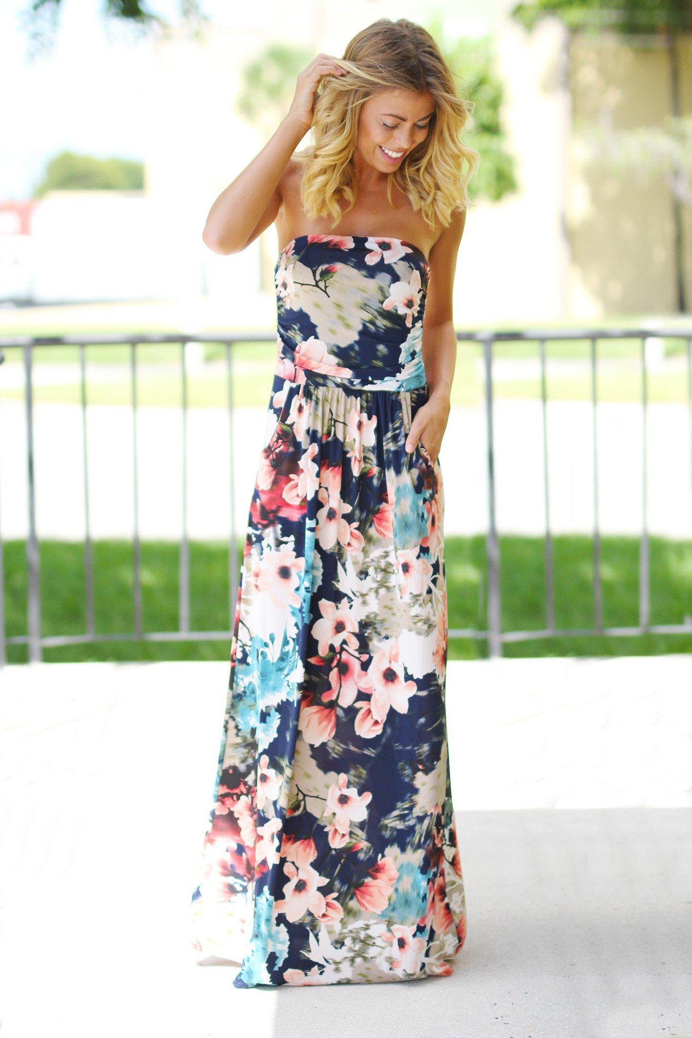 f37ac6dc5d3 Strapless Navy Floral Maxi Dress with Pockets