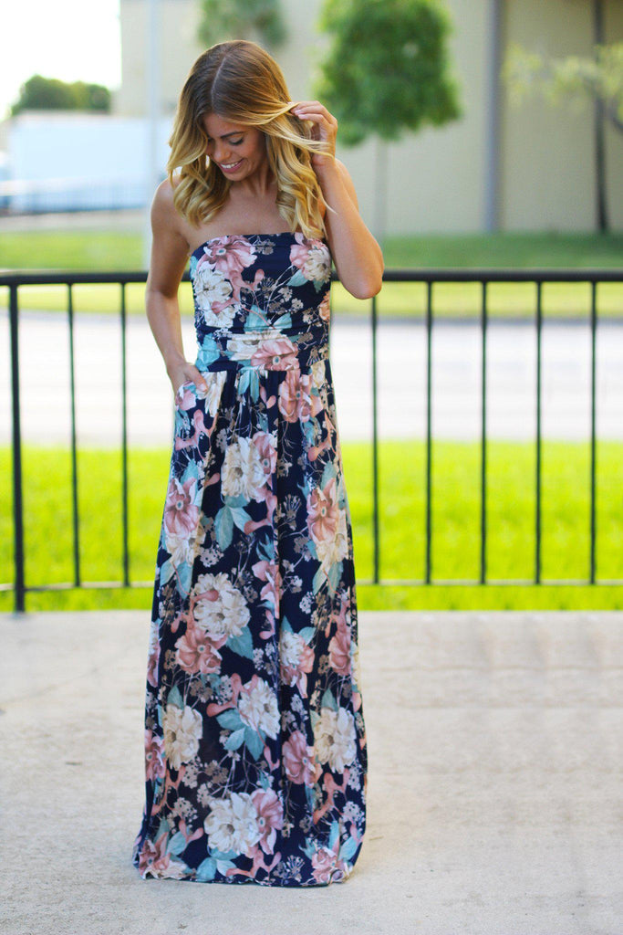 Strapless Peach and Navy Floral Maxi Dress with Pockets