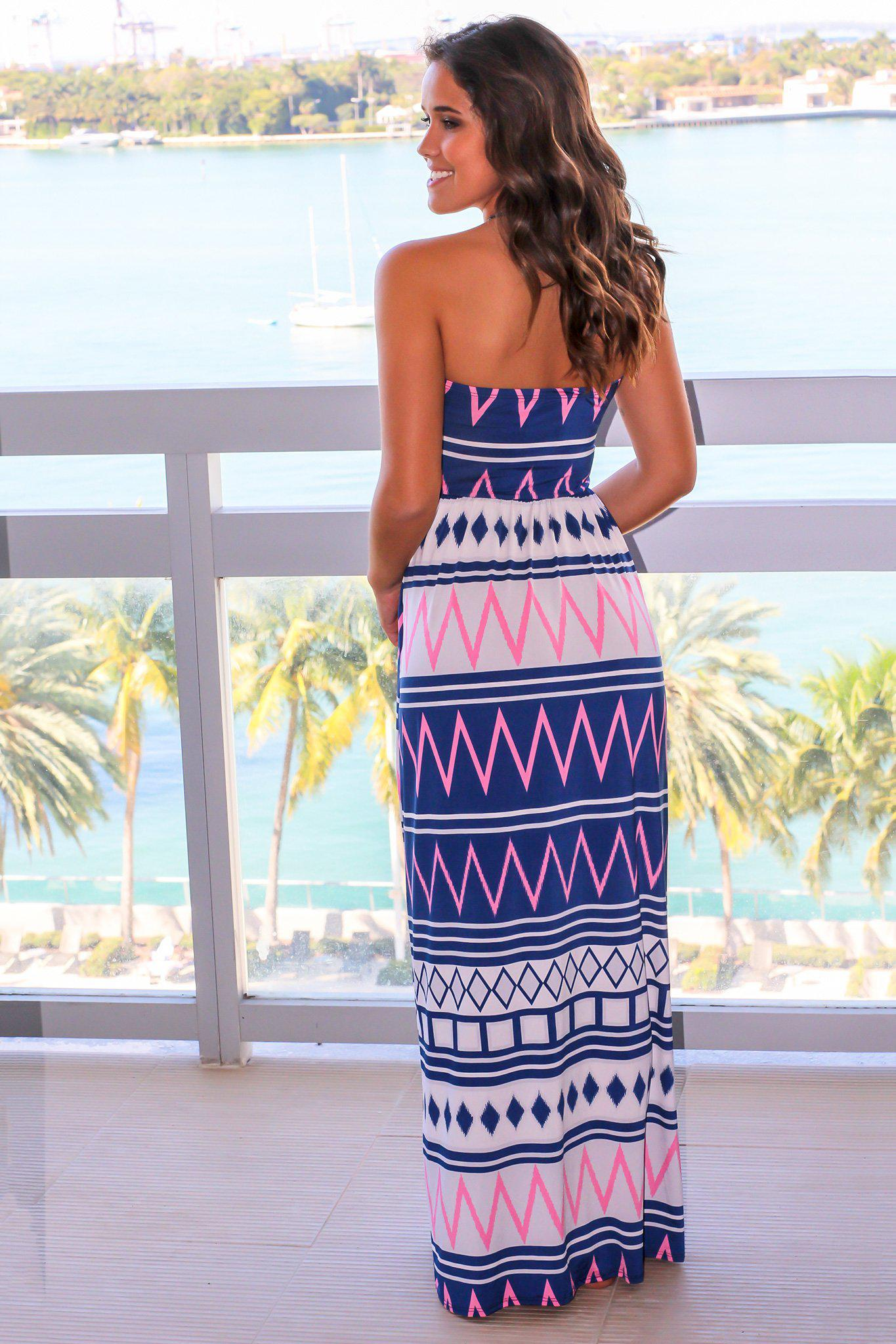 Strapless Pink and Navy Geometric Maxi Dress