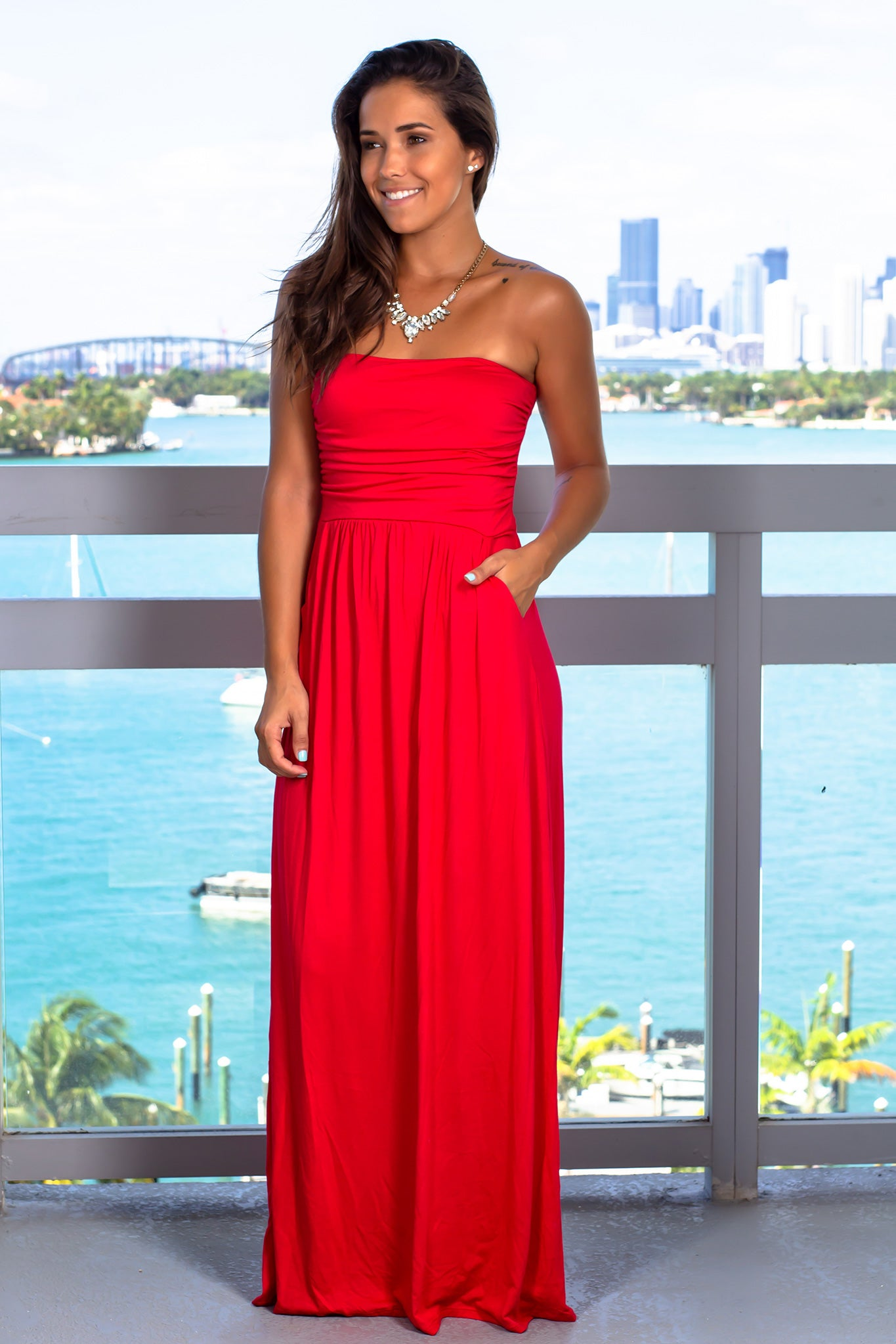 Strapless Ruby Maxi Dress with Pockets