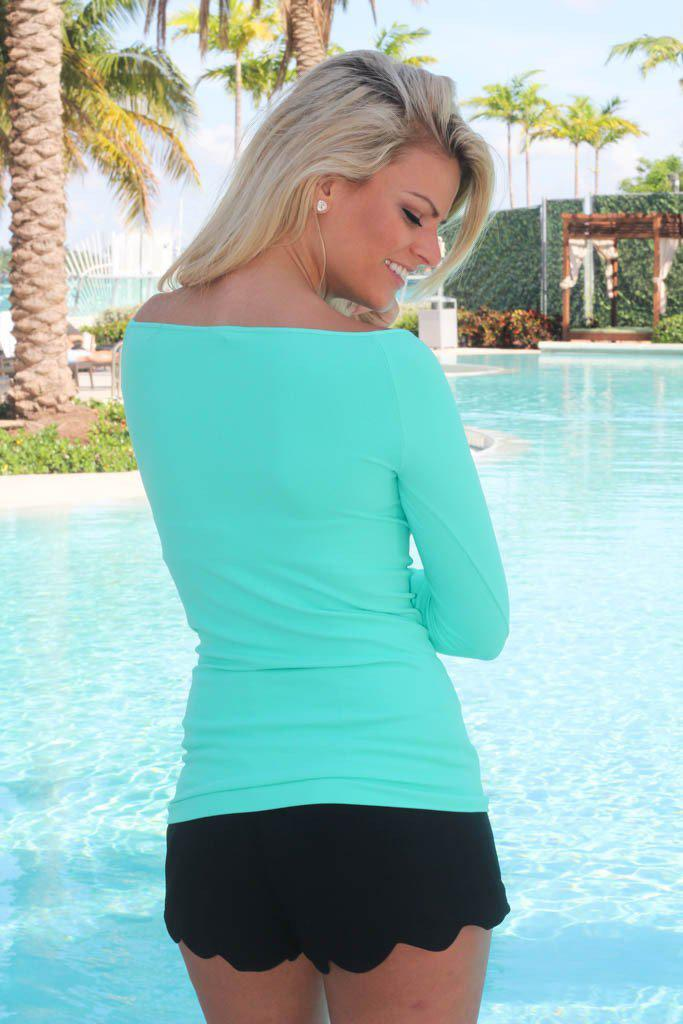 Stretchy Aqua Boat Neck Top