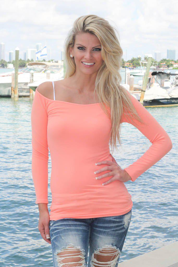 Stretchy Peach Boat Neck Top