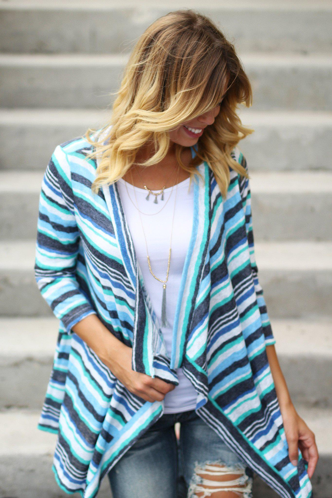 open front 3/4 sleeve cardigan