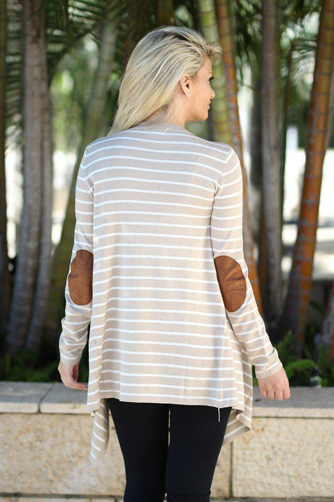 striped oatmeal cardigan