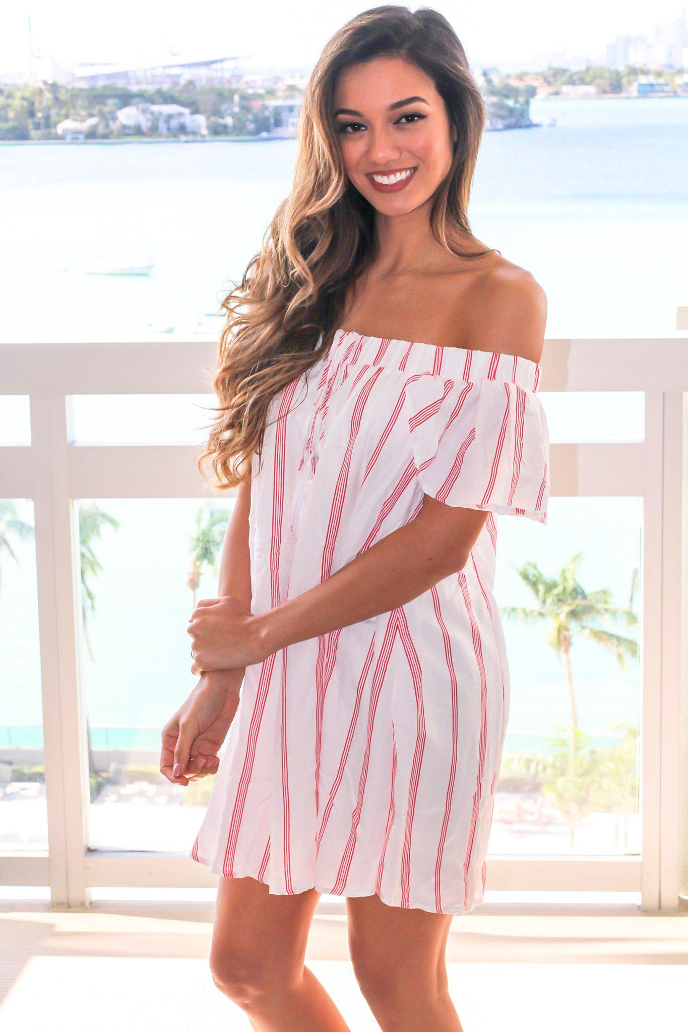 4010c7aa9 Red and White Striped Off Shoulder Short Dress | Short Dresses ...