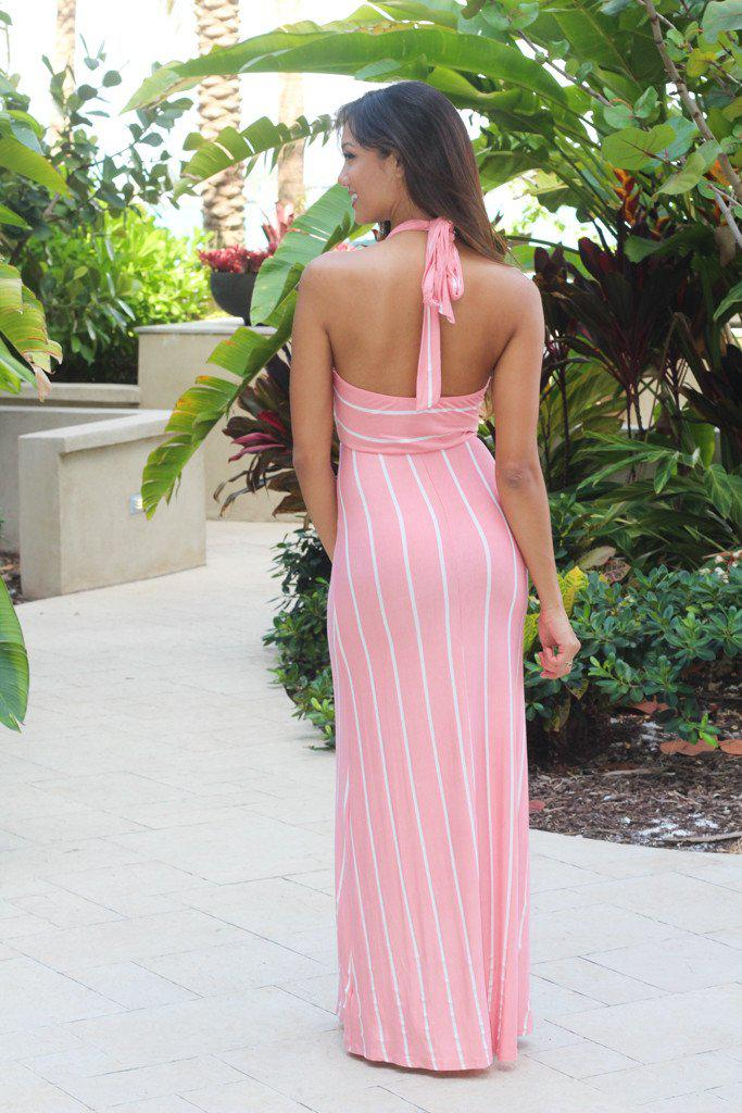 Pink Striped Halter Maxi Dress