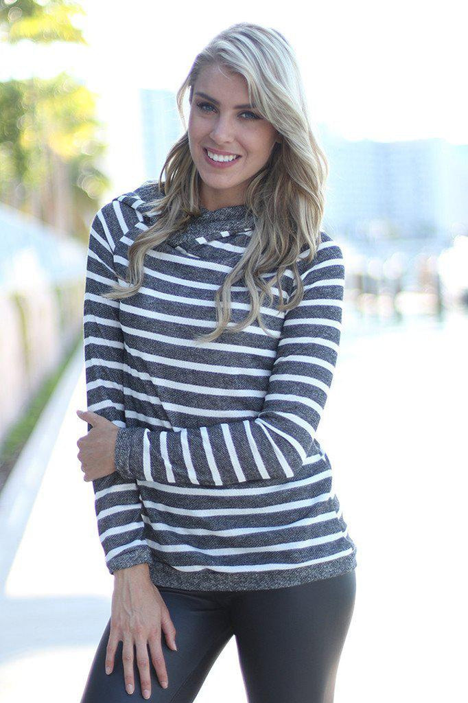 Gray Striped Hoodie