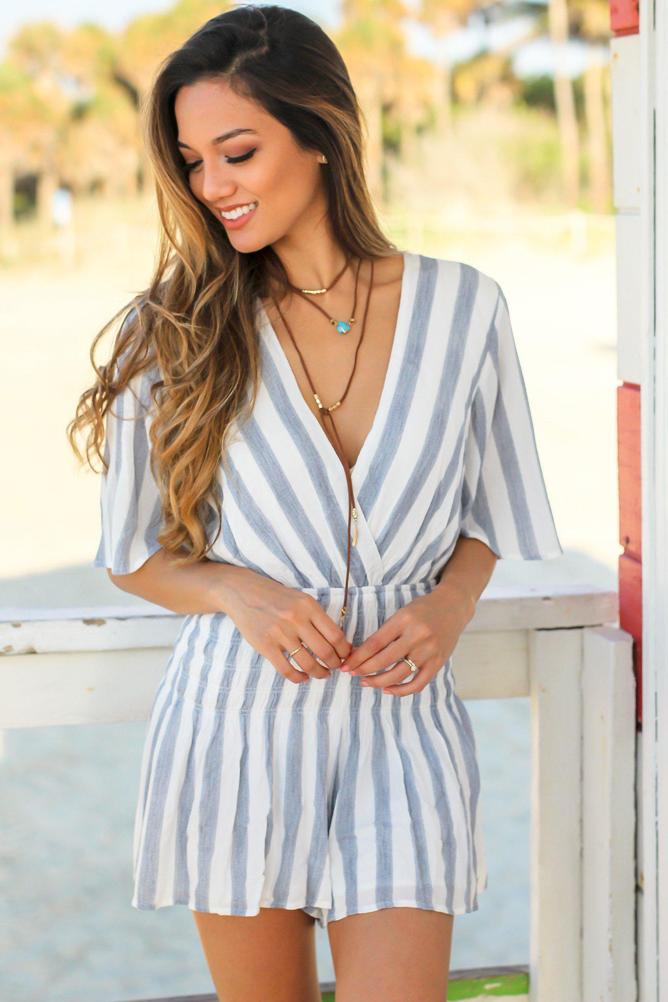 Striped Rompers