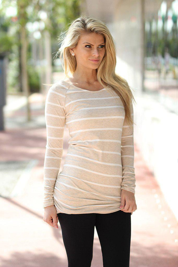 oatmeal striped top