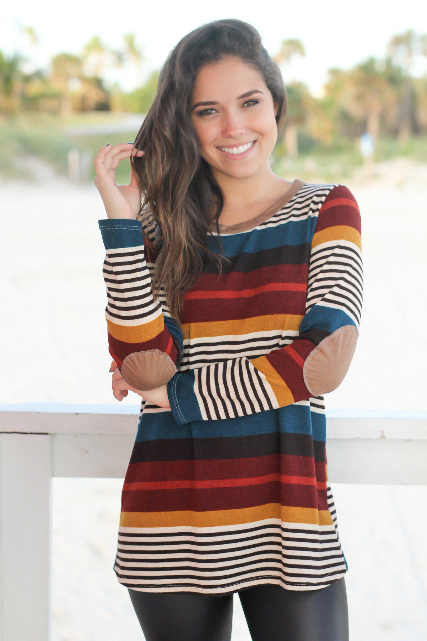 6027dbb13669 Burgundy Striped Top with Button Detail