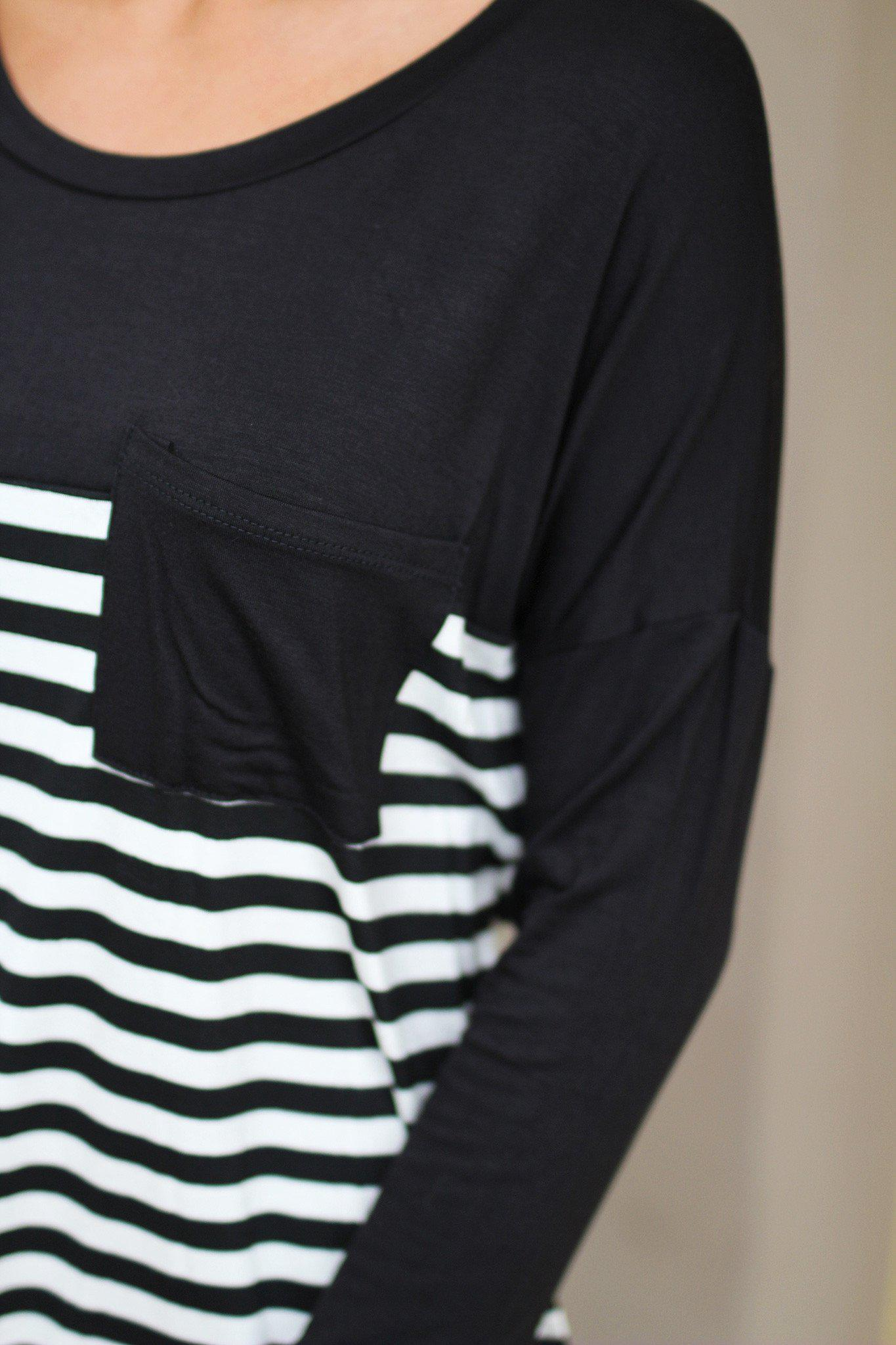 striped top with black pocket