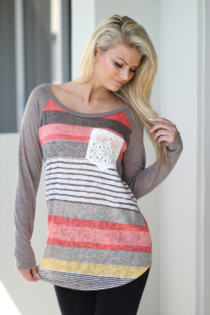 striped front pocket top