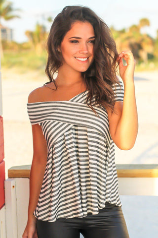 Black and White Striped Sleeveless Babydoll Top