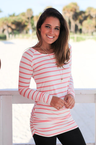 Pink and White Striped Ruched Tunic