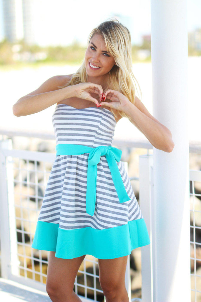 striped sweetheart short dress