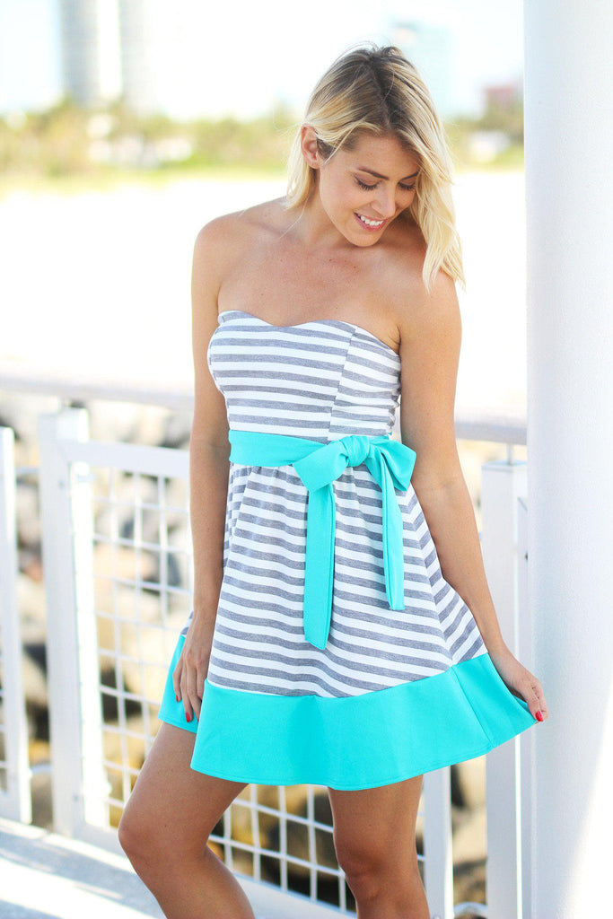 striped special occasion dress
