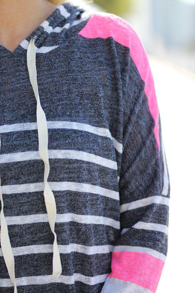 Neon Pink Striped Hoodie