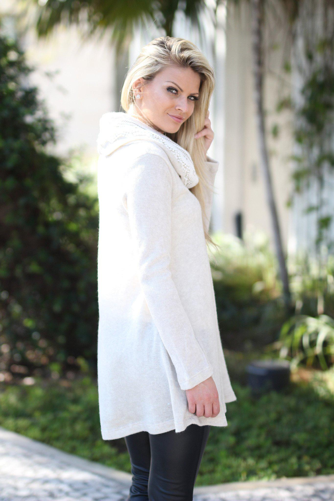 Ivory Sweater Tunic with Lace Neck