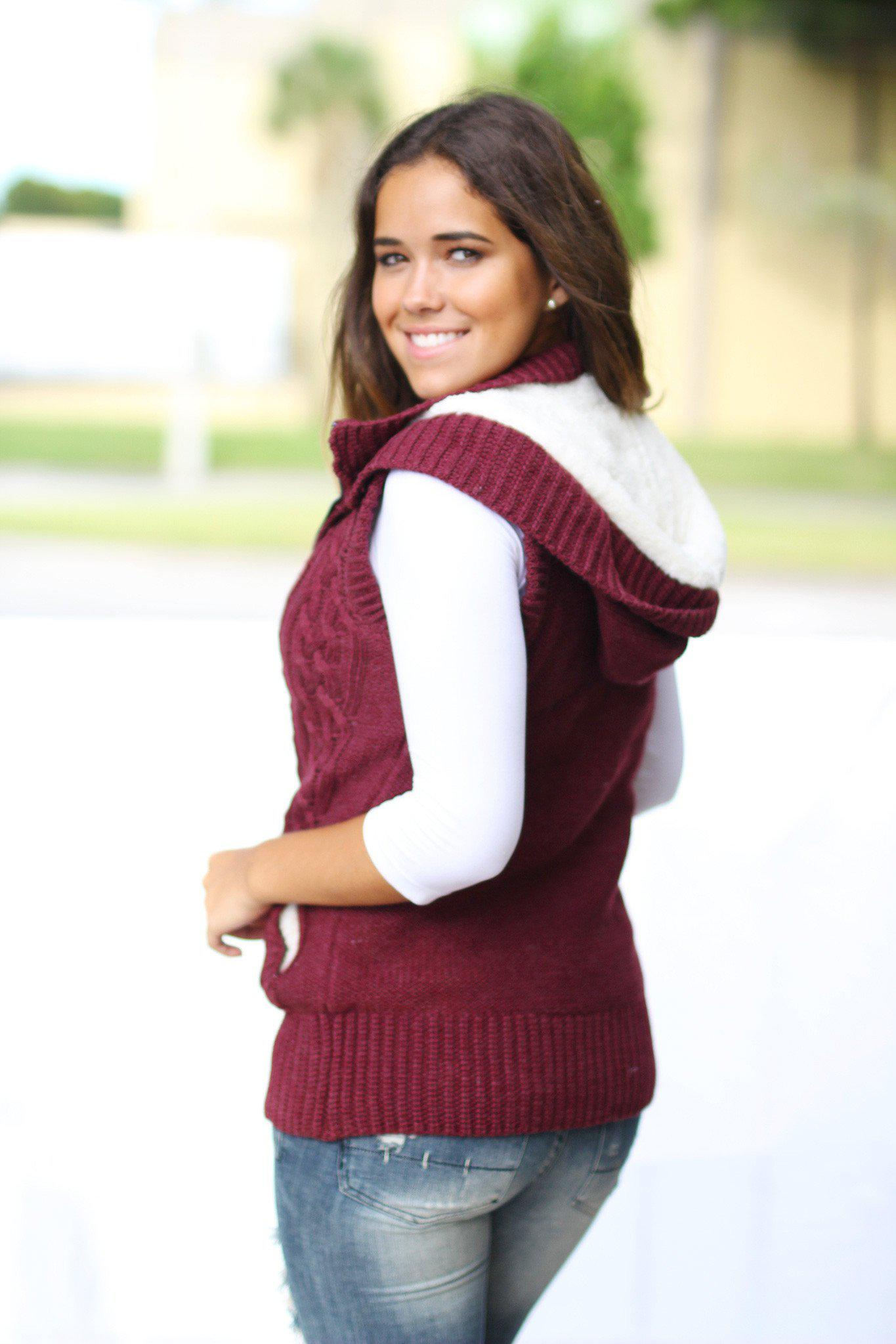 Wine Sweater Vest With Fur