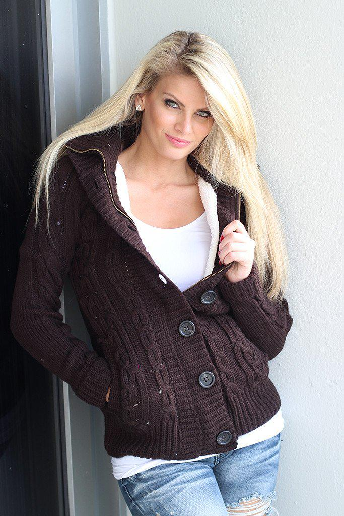 Brown Sweater With Fur Hood
