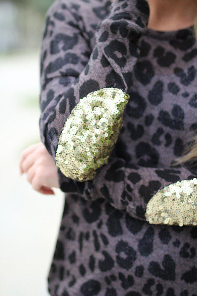 leopard patched sequin elbows sweater
