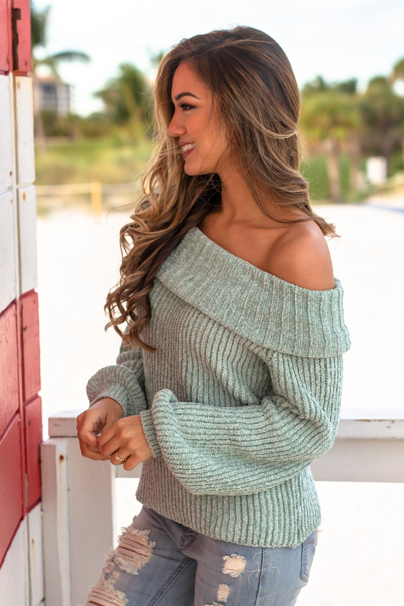 Sage Knit Off Shoulder Sweater Cute Tops Saved By The Dress