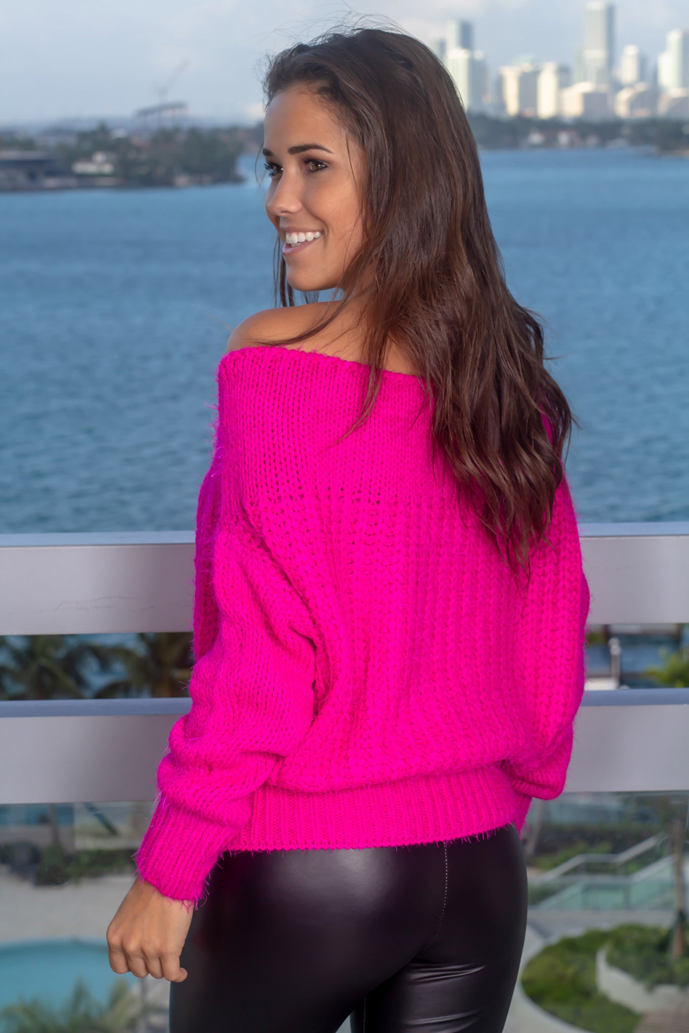 hot pink off shoulder sweater  sweaters – savedthe dress