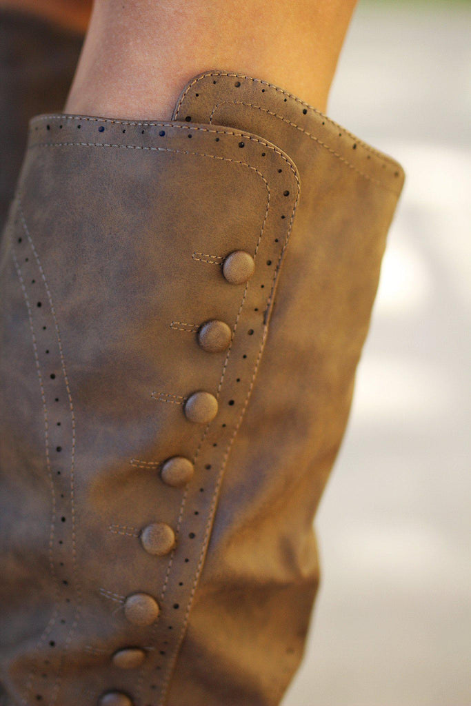 taupe boots with button details