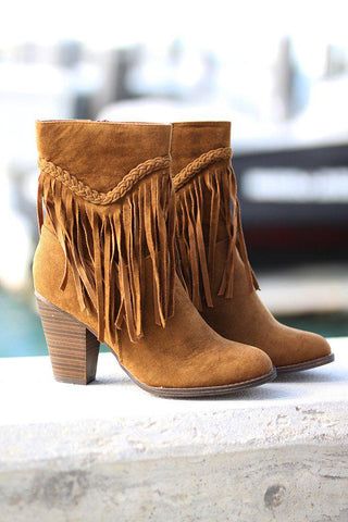 Tan Braided Fringe Booties
