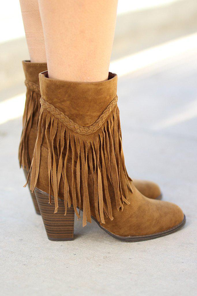 tan booties with fringe