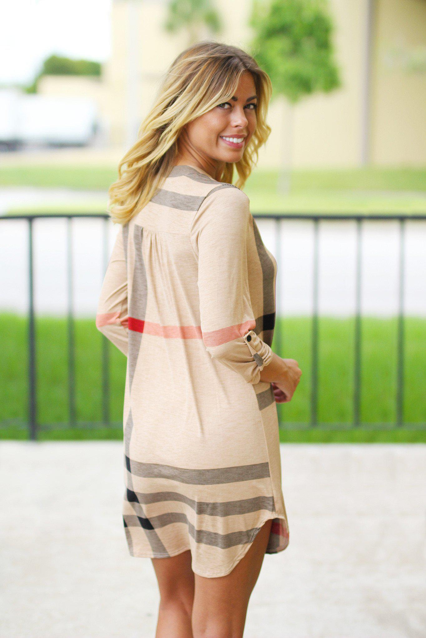 Tan Check Print Short Dress with 3/4 Sleeves