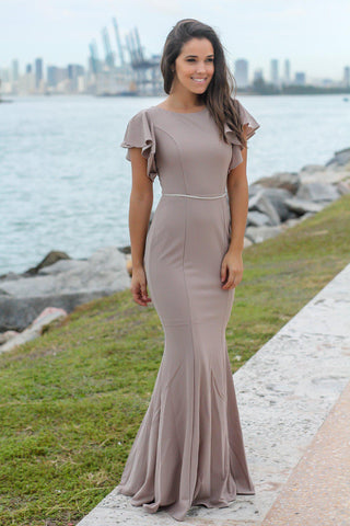 Tan Maxi Dress with Ruffle Sleeves