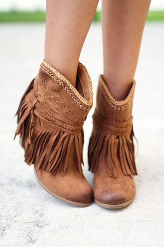 Tan Fringe Perforated Booties