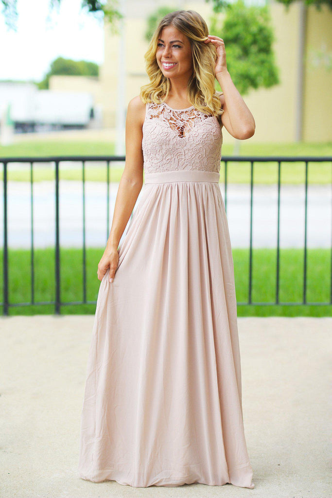 Tan Crochet Maxi Dress with Open Back