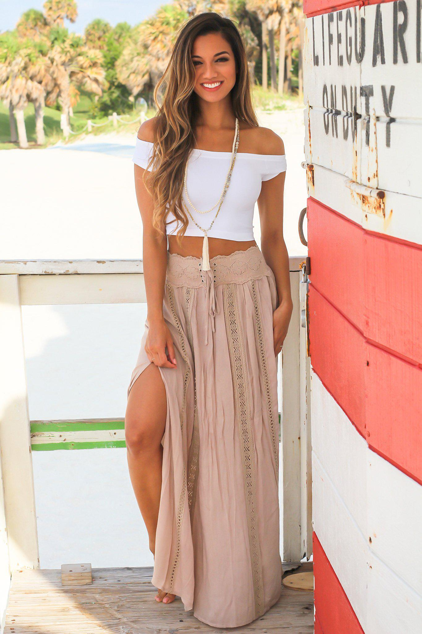 Tan Maxi Skirt with Crochet Detail