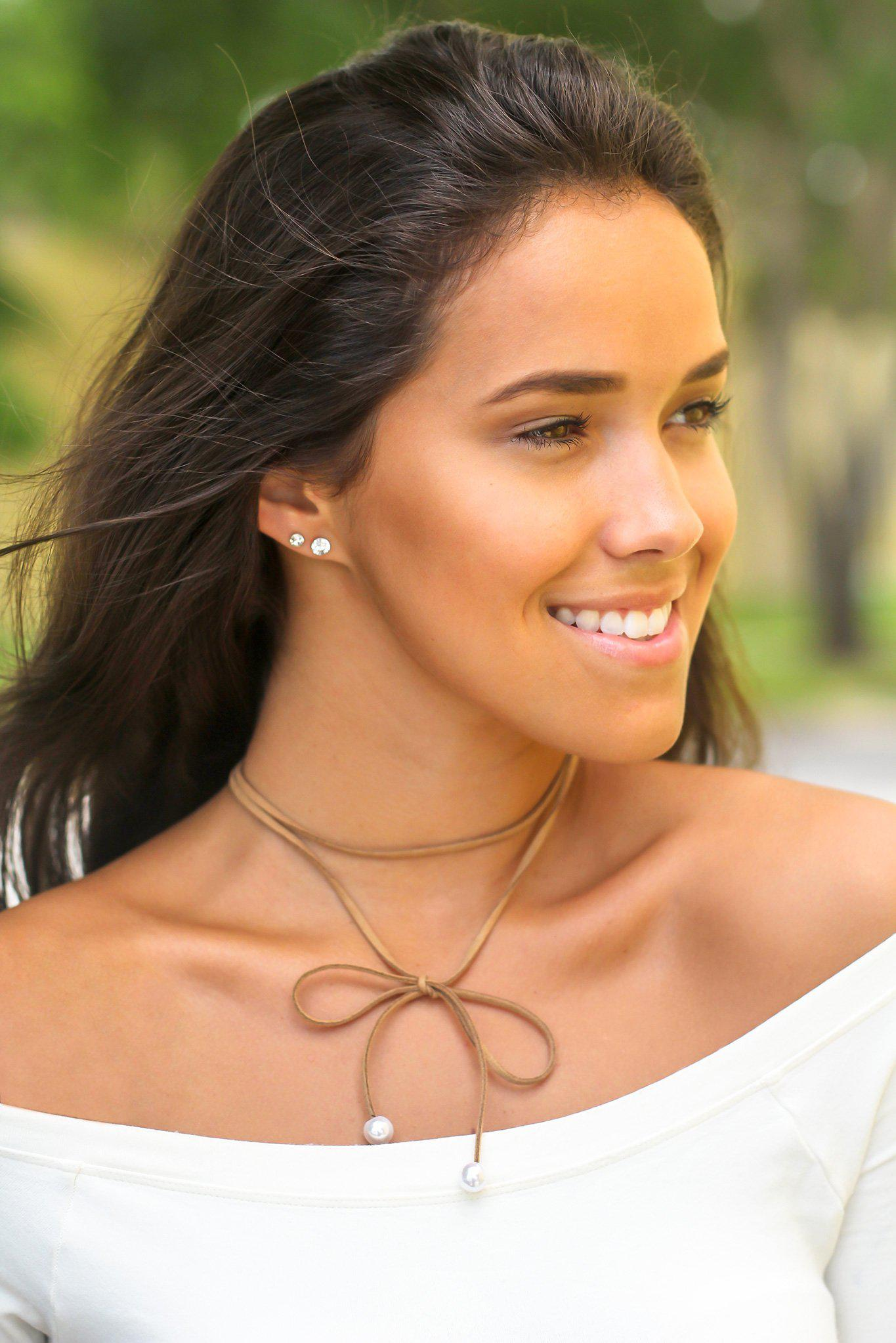 Tan Suede Choker with Pearl Detail