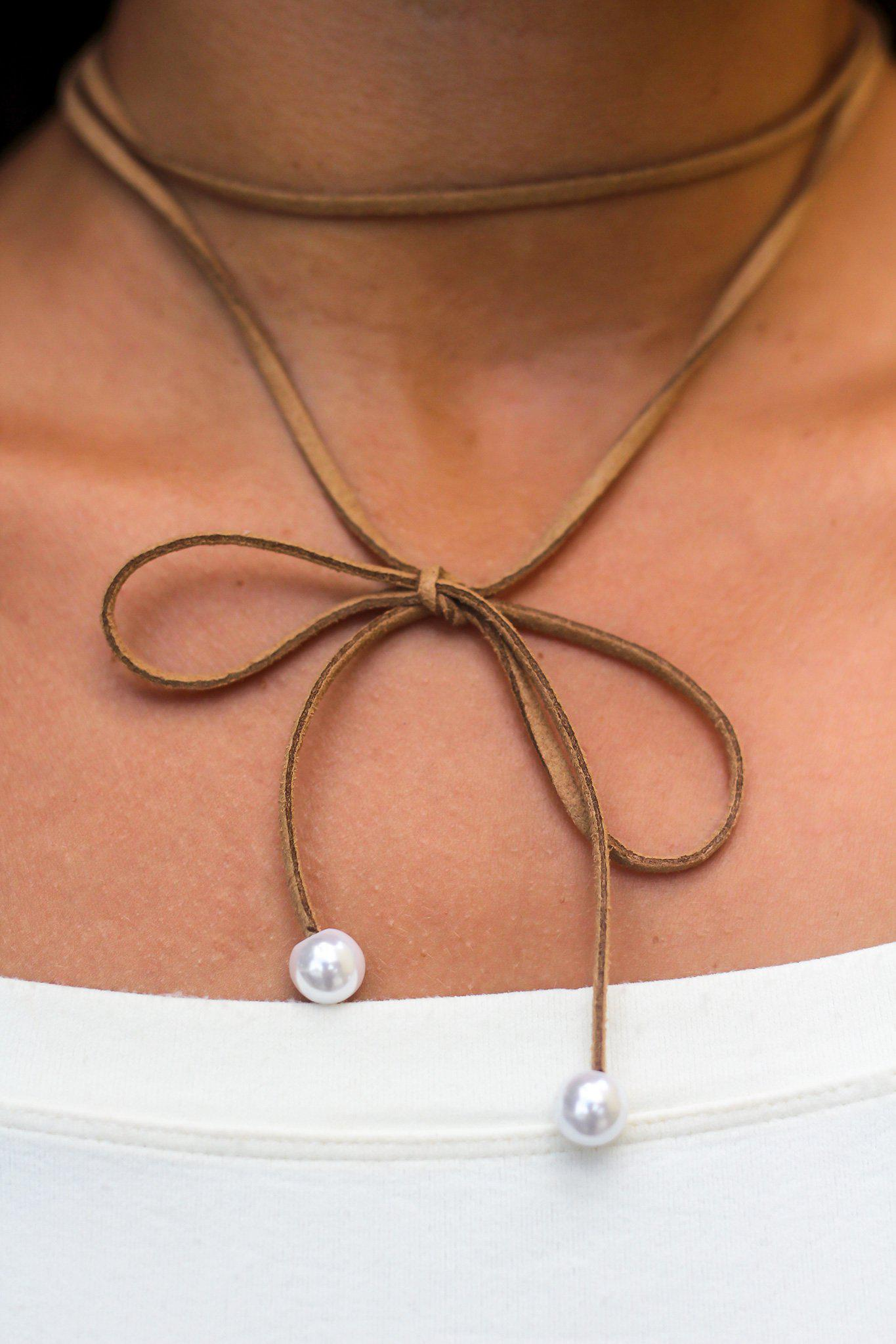 Brown Suede Choker with Pearl Detail