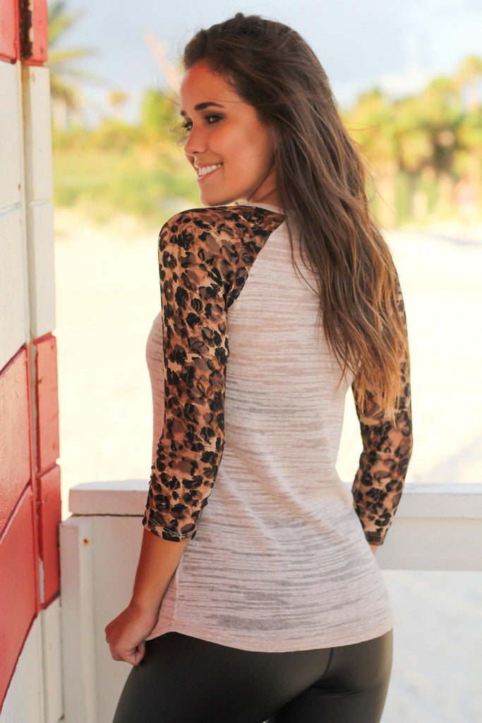 Tan Top with Lace Leopard Sleeves