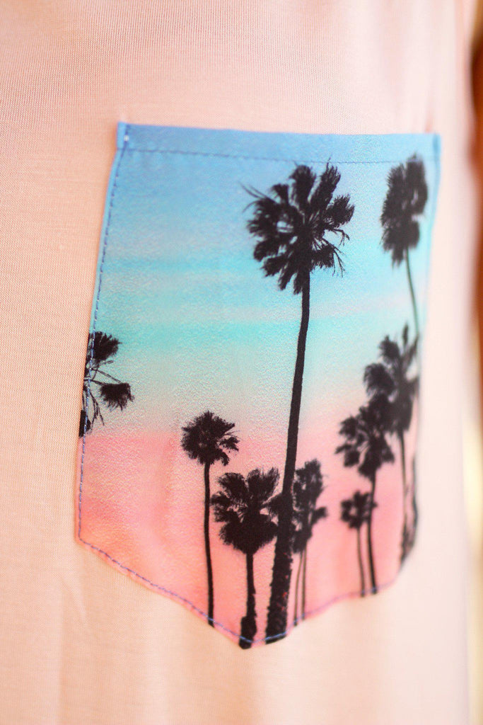 Peach Tank Top with Palm Tree Pocket